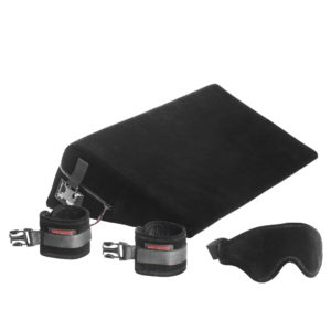 Liberator Black Label Wedge Sex Positioning Pillow with Cuffs, 24 inch, Microfiber Blk