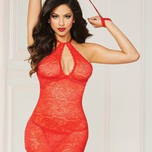 3 Pc Chemise Set Red O/S